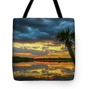 Cloudy Lake Sunset Tote Bag