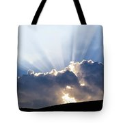Cloudy Sky Over Mountains Silhouette At Sunset Tote Bag