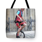 Clown Riding Unicycle In Town Tote Bag