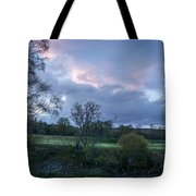 The Evening Is Fallen Over The Meadow Colouring The Sky Pink And Blue. Tote Bag