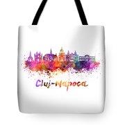 Cluj-napoca Skyline In Watercolor Splatter Tote Bag