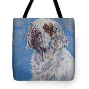 Clumber Spaniel In Snow Tote Bag