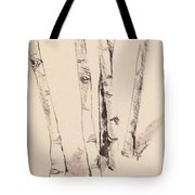 Clump Of Birch In Winter Tote Bag