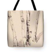 Clump Of Birch In Winter Tote Bag