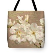 Cluster Of White Roses Posterized Tote Bag