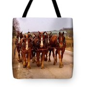 Clydesdale Amish Plow Team Tote Bag