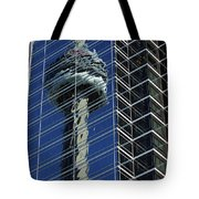 Cn Tower Reflected In A Glass Highrise Tote Bag