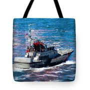 Coast Guard Out To Sea Tote Bag by Aaron Berg