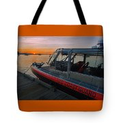 Coast Guard Response Boat At Sunset Tote Bag