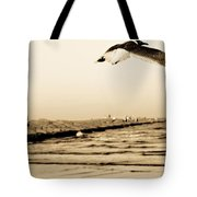 Coastal Bird In Flight Tote Bag