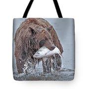 Coastal Brown Bear With Salmon  Tote Bag