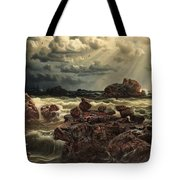 Coastal Landscape With Ships On The Horizon Tote Bag