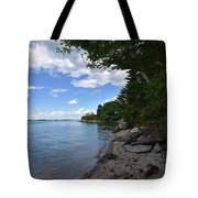 Coastal Maine's Rocky Shore On A Beautiful Summer Day Tote Bag