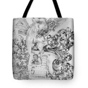 Coat Of Arms With Open Man Behind Tote Bag