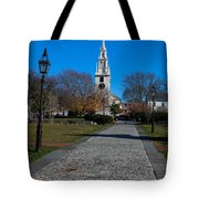 Cobblestone To Trinity Church Newport Rhode Island Tote Bag