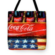 Coca Cola And Wooden American Flag Tote Bag