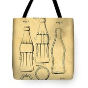 Coca Cola Bottle Patent Art 1937 Blueprint Drawing Tote Bag