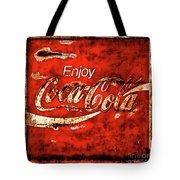 Coca Cola Square Soft Grunge Tote Bag