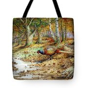 Cock Pheasant And Sulphur Tuft Fungi Tote Bag by Carl Donner