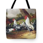 Cockerels In A Landscape Tote Bag