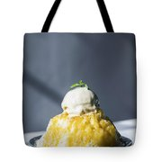 Coconut Sorbet With Mango Sauce And Vanilla Ice Cream Tote Bag