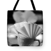Coffee Cup Black And White Tote Bag