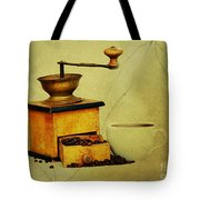 Coffee Mill And Cup Of Hot Black Coffee Tote Bag
