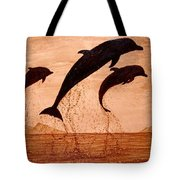 Coffee Painting Dolphins Playing Tote Bag
