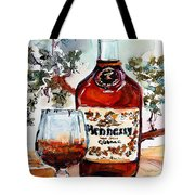Cognac Hennessy Bottle And Glass Still Life Tote Bag