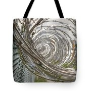 Coiled Razor Wire On Fence Tote Bag