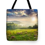 Cold Fog In Mountains On Forest At Sunset Tote Bag