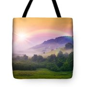 Cold Fog On Hot Sunrise In Mountains Tote Bag