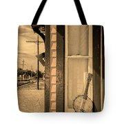 Cold Point Village Station - Banjo Mandolin In Sepia Tote Bag
