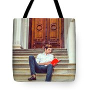 College Student Reading Red Book, Sitting On Stairs, Relaxing Ou Tote Bag