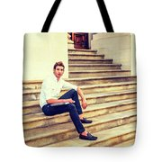 College Student Sitting On Stairs, Relaxing Outside Tote Bag