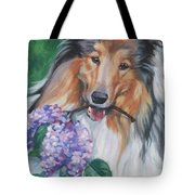 Collie With Lilacs Tote Bag by Lee Ann Shepard