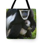 Colobus Monkey With Baby Tote Bag