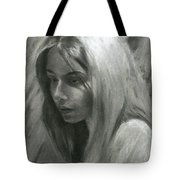 Portrait Of Woman In Charcoal Tote Bag