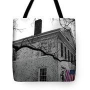 Colonial House With Flag Tote Bag