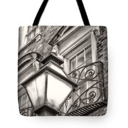 Colonial Lamp And Window Bw Tote Bag