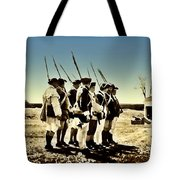 Colonial Soldiers Standing At Attention Tote Bag