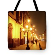 Colonial Street In Central Lima At Night Tote Bag