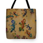 Color Lizards On The Wall Tote Bag