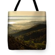 Colorado And Manitou Springs Valley In Fog Tote Bag