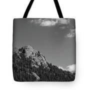 Colorado Buffalo Rock With Waxing Crescent Moon In Bw Tote Bag