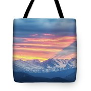 Colorado Rocky Mountain Sunset Waves Of Light Part 1 Tote Bag