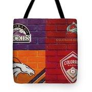 Colorado Sports Teams On Brick Tote Bag