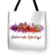 Colorado Springs V2 Skyline In Watercolor Tote Bag