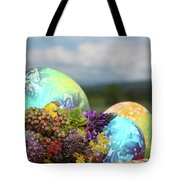 Colored Easter Eggs In Basket And Spring Flowers Tote Bag