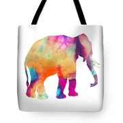 Colored Elephant Painting Tote Bag